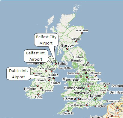 International Airports In Ireland Map.Location